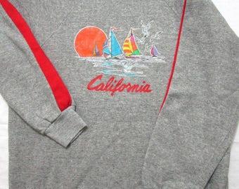 Vtg CALIFORNIA Tri Blend Heather Gray sweatshirt M L