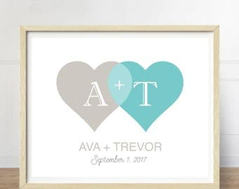 Personalized Wedding Gift, Wedding Art Print, Gift for Bride, Gift for Newlyweds, Couple's Initials, Initial Print, Venn Diagram Print