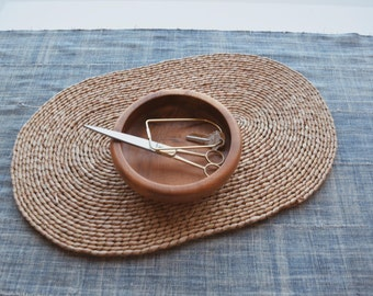 BALINESE RATTAN PLACEMAT // Vintage Oval Rattan Placemat Mid Century Modern