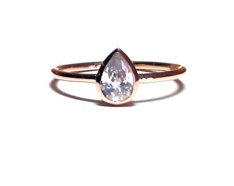 Pear Ring-Drop Ring-Solitaire Ring - Dainty Drop Ring - Diamond Ring - Pear cut Drop Ring - Gold Ring - 925K Silver Zirconia Ring