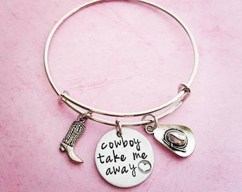 Cowboy take me away • Cowgirl Charm Bracelet • Country Girl Bangle • Cowboy Boot Charm Bracelet • I love my Cowboy • Country Girl