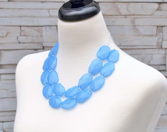 Blue Necklace, Statement Necklace, Chunky Beaded Jewelry, Bold Large Beads Necklace - with silver, rose gold or gold chain, Bridal Jewelry