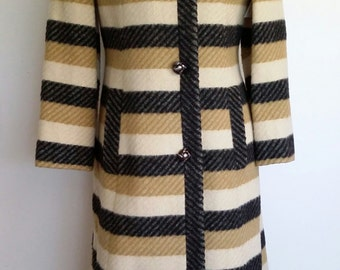 Winter coat, S, M, spring coat, striped coat, wool coat, intage coat, tan coat, beige coat, 60's coat, fall coat
