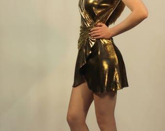 Gold Metallic Mini Dress