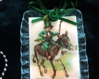 Handmade Vintage Style Victorian St. Patricks Day Holiday Card Tree Ornament - St. Patrick in The Morning