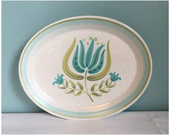 Vintage Mid Century Franciscan Earthenware Tulip Time Small Serving Platter, Retro Mid Century Franciscan Earthenware Dishes.