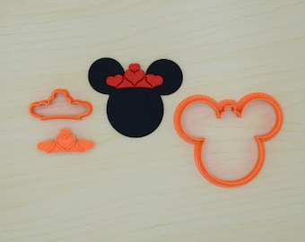 Mouse Head with Tiara Fondant Cutter and Stamp Set
