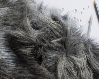 Gray Wolf Fur FREE SHIPPING Craft Squares- Fake Wolf Fur, Gray Fur Fabric, Gray Fursuit Fur, Faux Wolf Fur