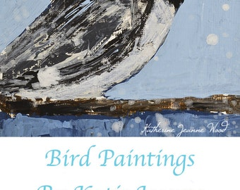 Acrylic Chickadee Bird Painting. Blue Wildlife Art. Cottage Chic Office Decor. 4x4 Wall Hanging. 38