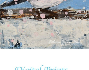 Snowy Blue Chickadee Bird Painting Print. Bird Digital Print. Chickadee Bird Art Print. Cottage Chic Decor. Gifts for Women Under 50. No 3