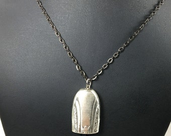 Vintage knife handle necklace, bell silverware jewelry