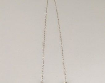 Small chevron, pendant necklace, fine silver with sterling silver chain