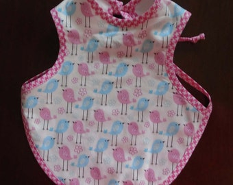 Bapron...Birds...Girl Bapron Bib...Baby Shower Gift...New Baby Gift...Shower Gift...Full-Coverage Bib...Baby Apron...Size 6-18M