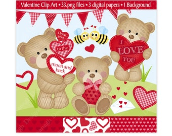 Valentine Clipart,Valentine Bear Clip Art,Bear Clipart,Cute Bear Clipart,Valentine Digital Papers,Heart Clipart,Scrapbooking,Commercial