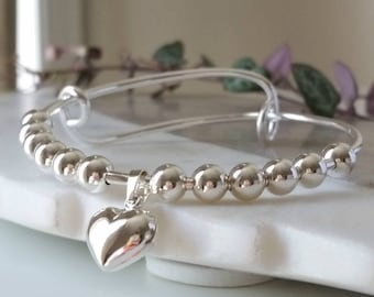 Sterling Silver beaded heart adjustable bangle - Silver bangle - Adjustable - Mothers day bangle
