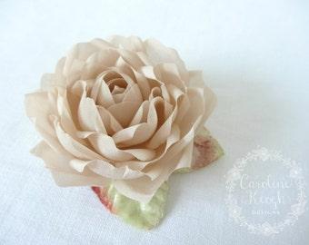 Café au Lait Pure Silk Rose Hair Clip Corsage