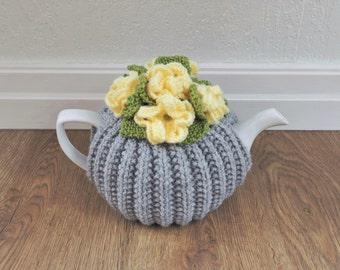 Lemon Yellow & Grey Floral Tea Cosy - Medium Tea Cozy - Small Tea Cosy - Large Tea Cosy  (MADE TO ORDER)