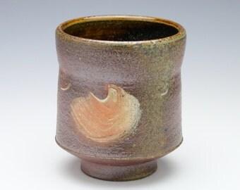 Kazegama fired, ash glazed ceramic cup/yunomi - 12 oz.
