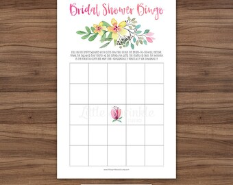 Watercolor Bridal Shower Bingo Cards / Floral Bridal Shower Game / Watercolor Bridal Bingo / Printable Digital / INSTANT DOWNLOAD