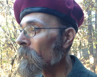 Vintage 1970s-80s German Military Beret / Wool / Burgundy Dark Red/ Available in Sizes XL, XXL