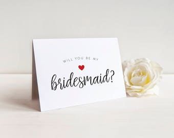 SALE Cute Will you be my Bridesmaid Card, Bridesmaid Card, Bridal Party Card, Bridesmaid Proposal, Bridesman, Maid of Honor, Personalized