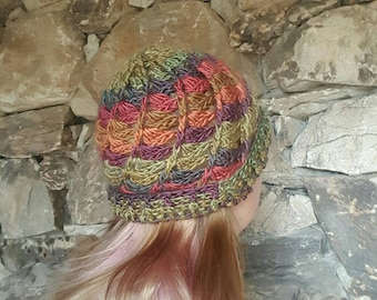 Autumn Crochet Beanie Hat, Green Toboggan, Gifts for Her, Earthy Colorful Women's Hat, Ready to Ship, Earthy Clothing