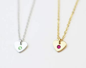 Birthstone Heart Necklace / Birthstone Necklace for Bridesmaid / Crystal Heart Necklace Gift for her