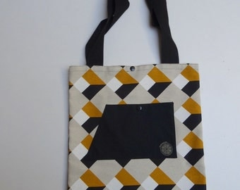 Tote bag in mustard yellow geometric patterned fabric
