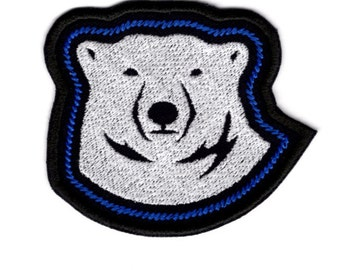 Polar Bear Face outline Patch Bear white Badge Iron on Patch