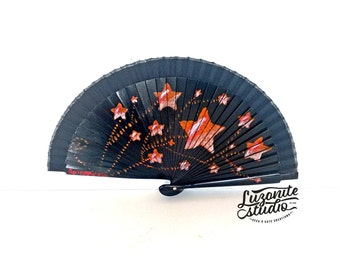 Fan small black with star red painted hand, fan-shaped Spanish painted by hand