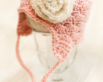 Pink Baby Girl Ear Warmer Hat with Flower