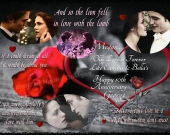 Bella & Edward Twilight Card, Personalized Romantic Love Card, Anniversary, Birthday, Valentine Card, The Twilight Saga Vampire Movies, Art
