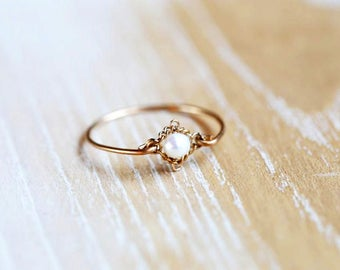 Pearl Ring Vintage - Pearl Ring Gold, Freshwater Pearl Ring, Real Pearl Ring, June Birthstone Ring, June Birthstone Jewelry
