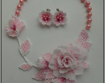 Beaded necklace Pink rose Delicate Rose Wedding necklace Flower necklace Floral jewelry Beaded jewelry Real flower jewelry Flower earrings