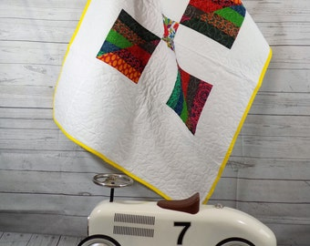 Baby Quilt, Baby Patchwork Quilt, Patchwork Crib Quilt, Summer Baby Quilt, Bright Colours, Free Motion Stitching, Hippie Tapestry Cot Quilt