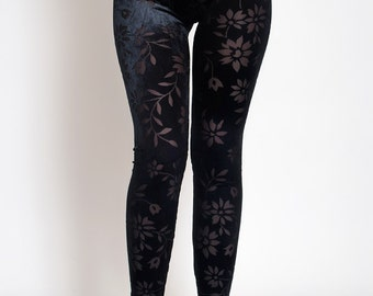 Black Velvet leggings with transparent flowers. Velvet Lace Gothic Pants. Floral Leggings.