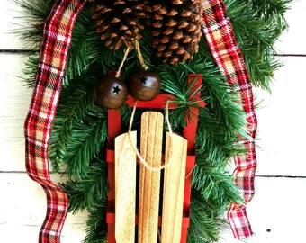 Large Winter Swag with Sled,Winter Swag,Sled Swag,Pinecone, Bells and Sled Swag,WinterWreath,Sled Wreath/SwagChristmas Swag,ChristmasWreath