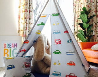 Beautiful Teepee, wigwam, Go Go Retro themed fabric by Harlequin +cushion cover