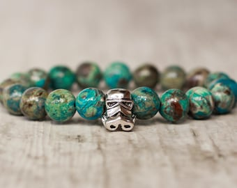 Stormtrooper bracelet star wars gift turquoise bracelet for men accessory agate stone bracelet mens gift for men bracelet beaded men jewelry