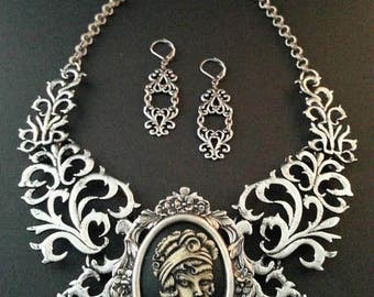 PinUp Girl Cameo Necklace and Earring Set | Cameo Necklace | Tattoo Jewelry | PinUp Necklace | PinUp Jewelry | Dawn Santucci