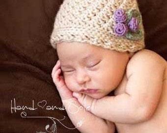 Crochet Hat Pattern, Crochet Baby Hat Pattern, Baby Girl Hat Pattern, Baby Girl Hat with Berries and Leaves Applique in Sizes 0 to 24 Mos