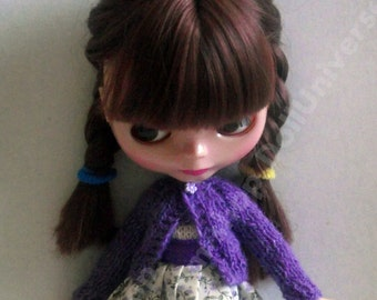Handknitted purple  cardigan for Blythe, Blythe\Azone, Momoko, Azone,pullip dolls