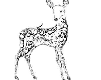 Arabic Calligraphy Deer - Arabic Poetry by Abu Tammam