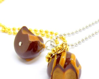 Caramel Chocolate Truffle Charm, Truffle Necklace, Valentines Day Candy Charm, Planner Charm, Stitch Marker, Fake Food Jewelry, Kawaii Charm