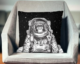 Cool Pillows | Hipster Pillow | Cool Gifts | Monkey Pillow | Space Pillow | Astronaut Pillow | Space Decor | Hipster Decor | Hipster Gift