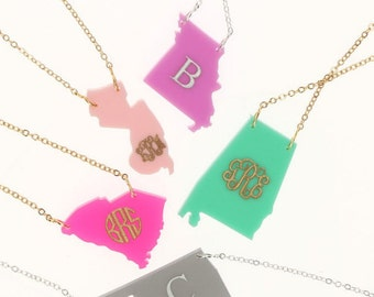 State Necklace - Acrylic State Necklace - Acrylic Necklace
