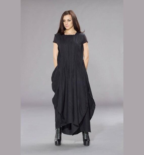 Plus Size Maxi Dress Long Black Dress Gothic Dress Black