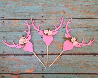 Pink Deer Head Etsy
