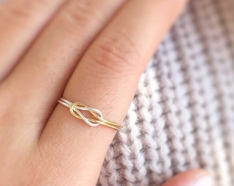 Gold/Silver Knot Ring,two tone knot ring,double knot ring,adjustable,reversible ring,infinity wire ring,love double ring,swirl ring,boho