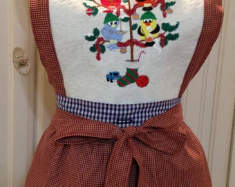 Vintage style full apron country ruffled holiday bird tree embroidery and gingham check  reversible button on bodice